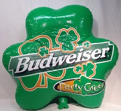Bud Light Party Green Inflatable Shamrock 1998 St. Patricks Day Man Cave Vintage