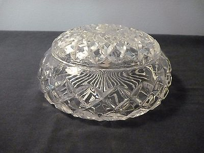 Antique Lidded crystal round bowl- Sydney Glass co