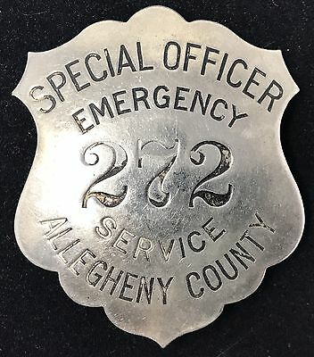VINTAGE SPECIAL OFFICER EMERGENCY 272 SERVICE ALLEGHENY COUNTY Collector Badge