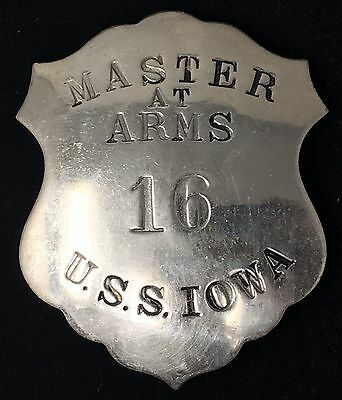 VINTAGE MASTER AT ARMS 16 U.S.S. IOWA  Liepsner & Co Collector Police Badge