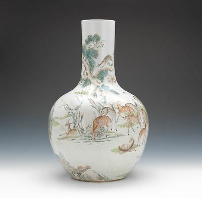 A Rare Monumental Chinese Qing Dynasty 100 Deer Famille Rose Porcelain Vase.