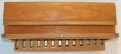 13 Sub Bass Brass Reeds and Box from Antique Pump Organ Used Parts Repair