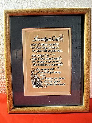 FRAMED & MATTED CUTE 1980's HALLMARK PRINT I'M ONLY A CAT POEM VERSE CAT LOVERS