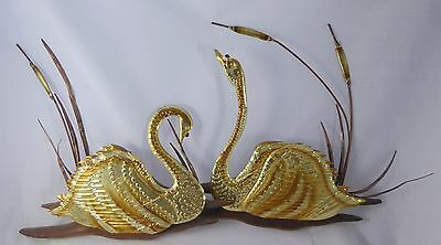 Set Of 2 Retro Mid Century Metal & Wood Swans and Cattails 3-D Wall Art
