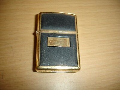 2000 Gold With Black Leather Plate Around Zippo Lighter,  Non Personalized