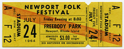 BOB DYLAN Joan Baez Original 1964 Newport Folk Festival UNUSED Concert TICKET