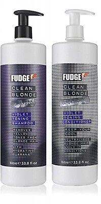 FUDGE CLEAN BLONDE VIOLET TONING SHAMPOO 1000ML and CONDITIONER 1000ML DUO PACK