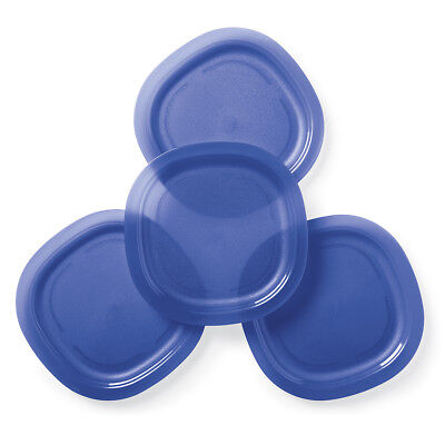 """Tupperware Microwave Reheatable Luncheon Lunch Plates in Blue - 9"""" Wide - NEW!"""