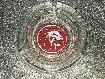Vintage MGM GRAND Hotel CASINO ASHTRAY Official OLD LAS VEGAS Glass COLLECTIBLE
