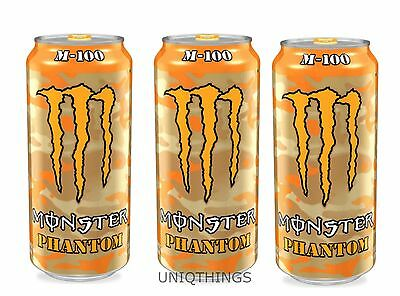Monster Energy Drink 16oz M-100 PHANTOM Cans. 3 CANS  Discontinued M100