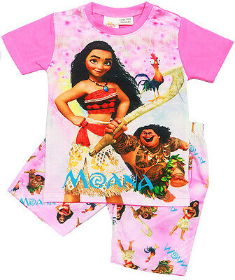 New Size 2-7 Kids Pyjamas Summer Moana Maui Girls Sleepwear Nighties Tshirt Pjs