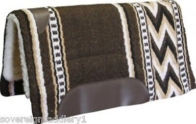 "Woven Wool Navajo Style Saddle Pad 34"" X 36"" Brown"