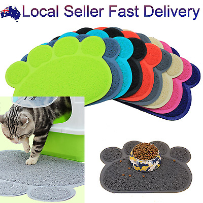 Cat Litter Mat Pet Food And Bowl Pad Tray Litter Trapper Mat Catcher Paw Shape
