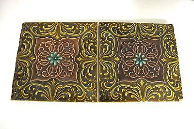 England-5 Art Nouveau Majolicas - Tiles C1900 square green brown flowers (#715)