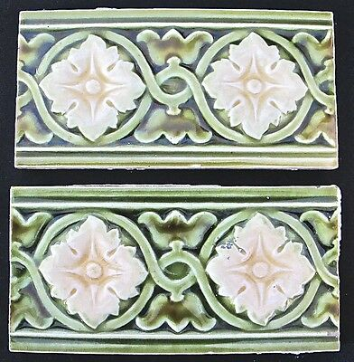 Antique England-2 Art Nouveau Majolica -Border Tiles C1900 green flower (#447)