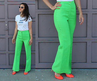 Vtg Disco 70s Petite Lime Green Wide Leg High Waisted Pants Trousers XS