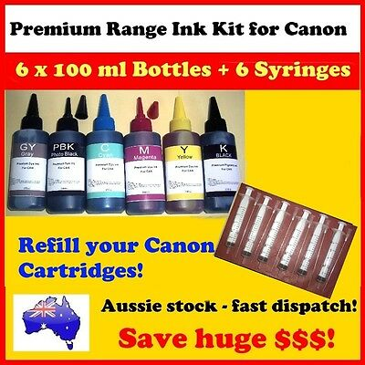 6 x100 ml refill buk ink for Canon Cartridges, 6 Syringes and needles