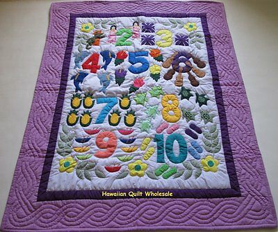 Hawaiian style NUMBER quilt baby crib blanket hand quilted wall hanging LAVENDER