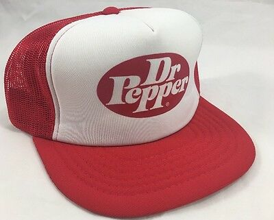 Vintage 1980's Dr Pepper Snap Back Hat, Mesh Foam, New Old Stock