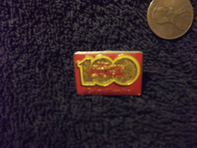 "Coca Cola Coke Pin 100th Anniversary ""A Century Of Good Taste"" Vintage Tack"