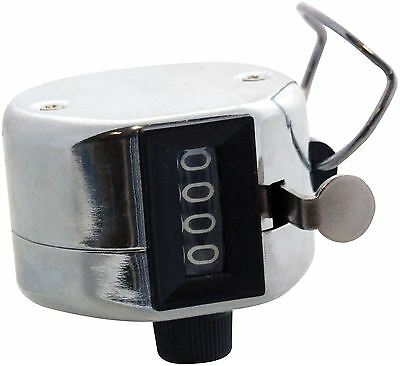 Am-Tech Hand Tally Counter (Reads From 0  To 9999) - Chrome Metal Hand - P1925