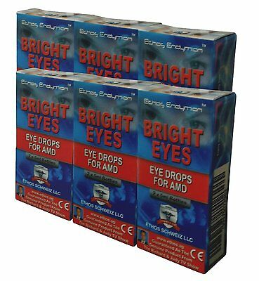 Ethos Bright Eyes Eye Drops for AMD. Six boxes includes 12 x 5ml bottles.