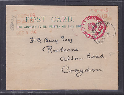 1914 Censor Postcard To Croydon  Army Post Office 12