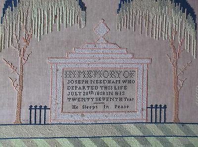 Rare Antique 19 C Large Memorial Tomb & Angels Woolwork Sampler God Jehovah 1858