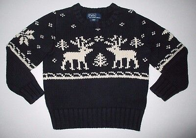 Boys Ralph Lauren Navy Blue Reindeer Fair Isle Nordic Pullover Sweater 3 3T