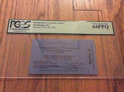 1989 PRESIDENT George H.W. Bush INAUGURATION Seated Ticket PCGS 64 West Front