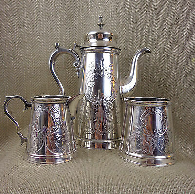 Antique Silver Plated Coffee Set Ornate Engraved Pot Jug Edwardian