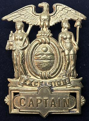 VINTAGE OBSOLETE NYPD EXCEISIOR CAPTAIN HAT BADGES Collector's Police Badge