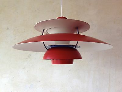 Original Danish - Vintage Design Lamp - Ph5 In Red - Made By - Louis Poulsen