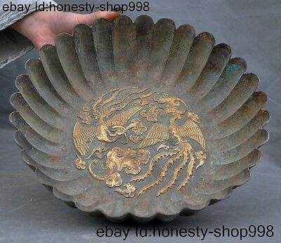Chinese Palace Pure Bronze Gilt 24K Gold Phoenix bird Statue Plate pot jar Crock