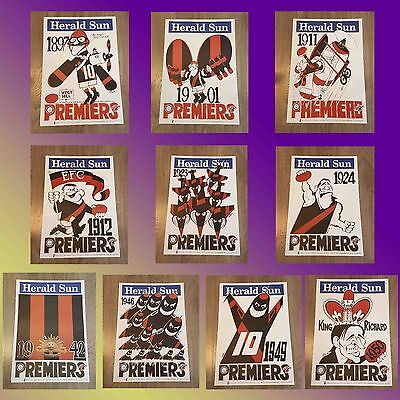 1897 - 1950 Essendon Premiership Weg Poster Set Or Single Limited Edition