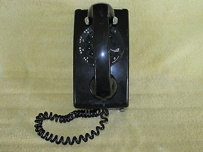 Vintage Bell System Western Electric Rotatry Dial Classic Black Wall Phone, #554