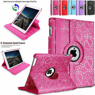 Leather 360 Degree Rotating BLING Smart Stand Case Cover For APPLE iPad Models