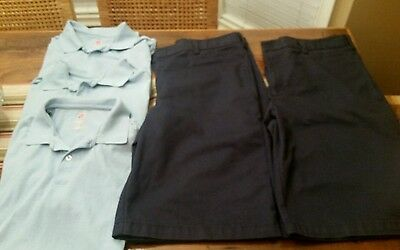 LOT 2 Mens Boys Navy Classic Shorts SZ 36 & Lot Blue Uniform Polo Shirts L