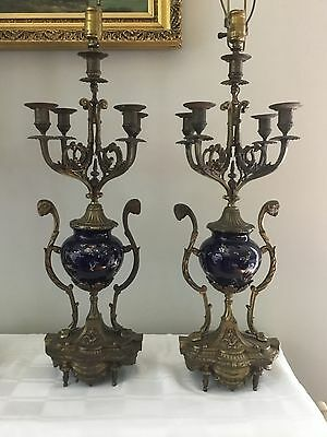 Antique French Sevres Stylized Cobalt Bronze Porcelain Insects Lamp Pair Rams