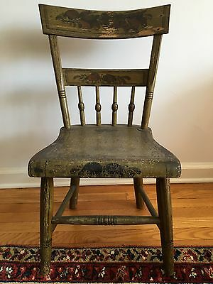 18TH C PAINTED WOOD WINDSOR SIDE CHAIR Child's