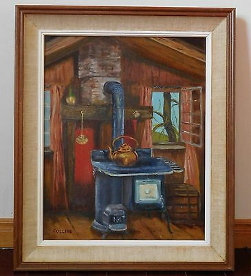Vintage original oil-on-board painting by artist Collins