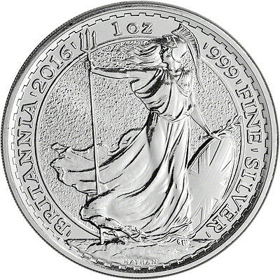 2016 Silver Britannia, unc: 1oz Troy ounce Fine Silver Bullion Coin with CAPSULE
