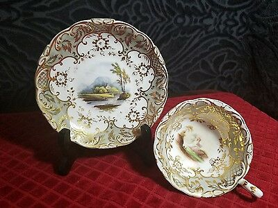 Davenport Longport Staffordshire Antique Hand Painted Tea Cup & Saucer