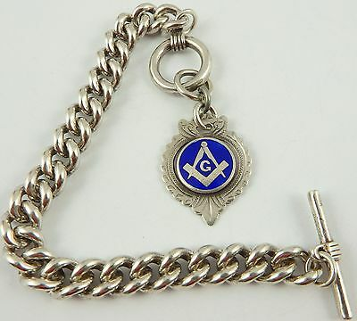 Antique silver albert pocket watch guard chain with enamelled masonic fob medal