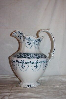Antique Grindley Pottery Water Bowl Pitcher Festoon Pattern Teal & White