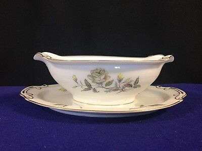 Autumn Rose by Hira China Gravy Boat with Attached Under Plate - RARE Pattern