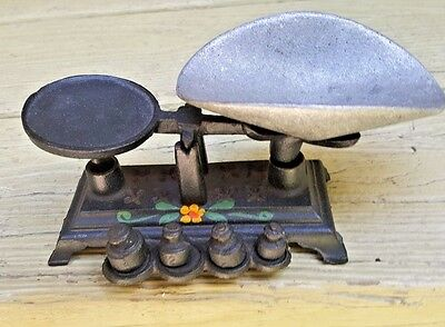 Vintage Mini Cast Iron Scale With 4 Weights Comes Apart With Painted Flowers