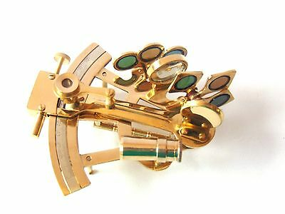 Solid Brass Marine Sextant Handmade Nautical Desk Collectible Sextant Decorative