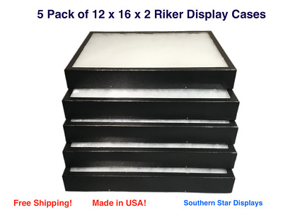 5 Pack of 12 x 16 x 2 Riker Display Cases Boxes for Collectibles Arrowheads