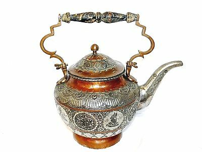 Antique 19th Century Copper Tinned Silver Persian Islamic Middle Eastern Teapot